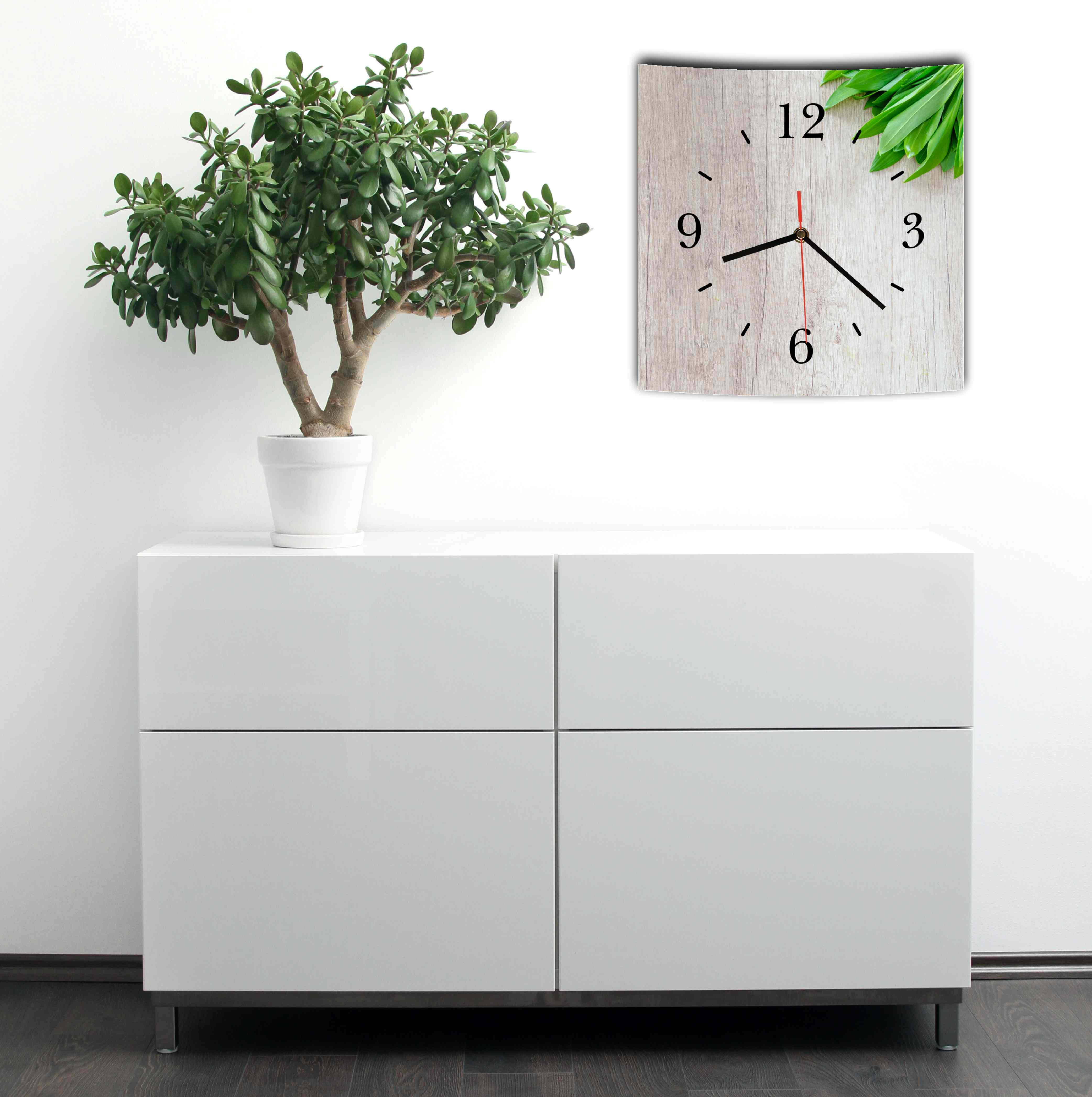 lautlose designer wanduhr mit spruch holz optik k che grau wei modern dekoschil eur 34 95. Black Bedroom Furniture Sets. Home Design Ideas