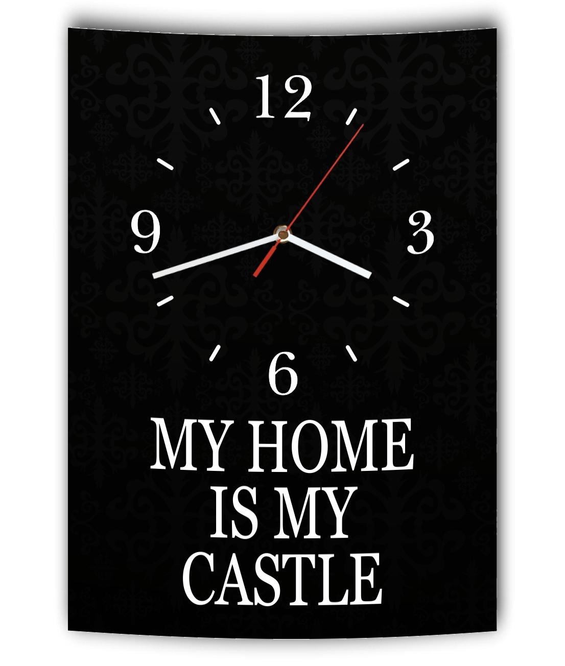 Elegant LAUTLOSE Designer Wanduhr Mit Spruch My Home Is My Castle Schwarz Weiß  Modern De