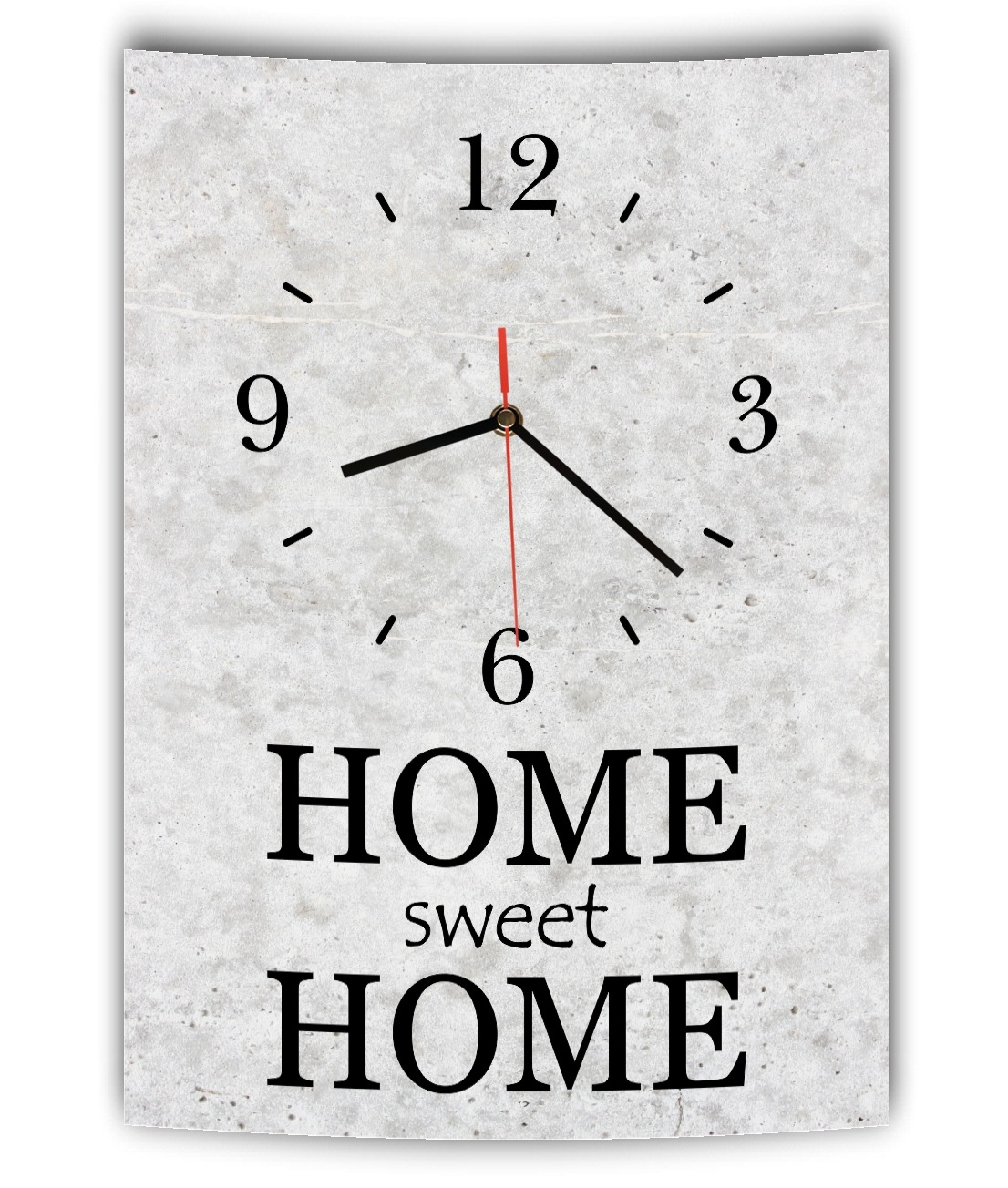 lautlose designer wanduhr mit spruch home sweet home grau betonoptik