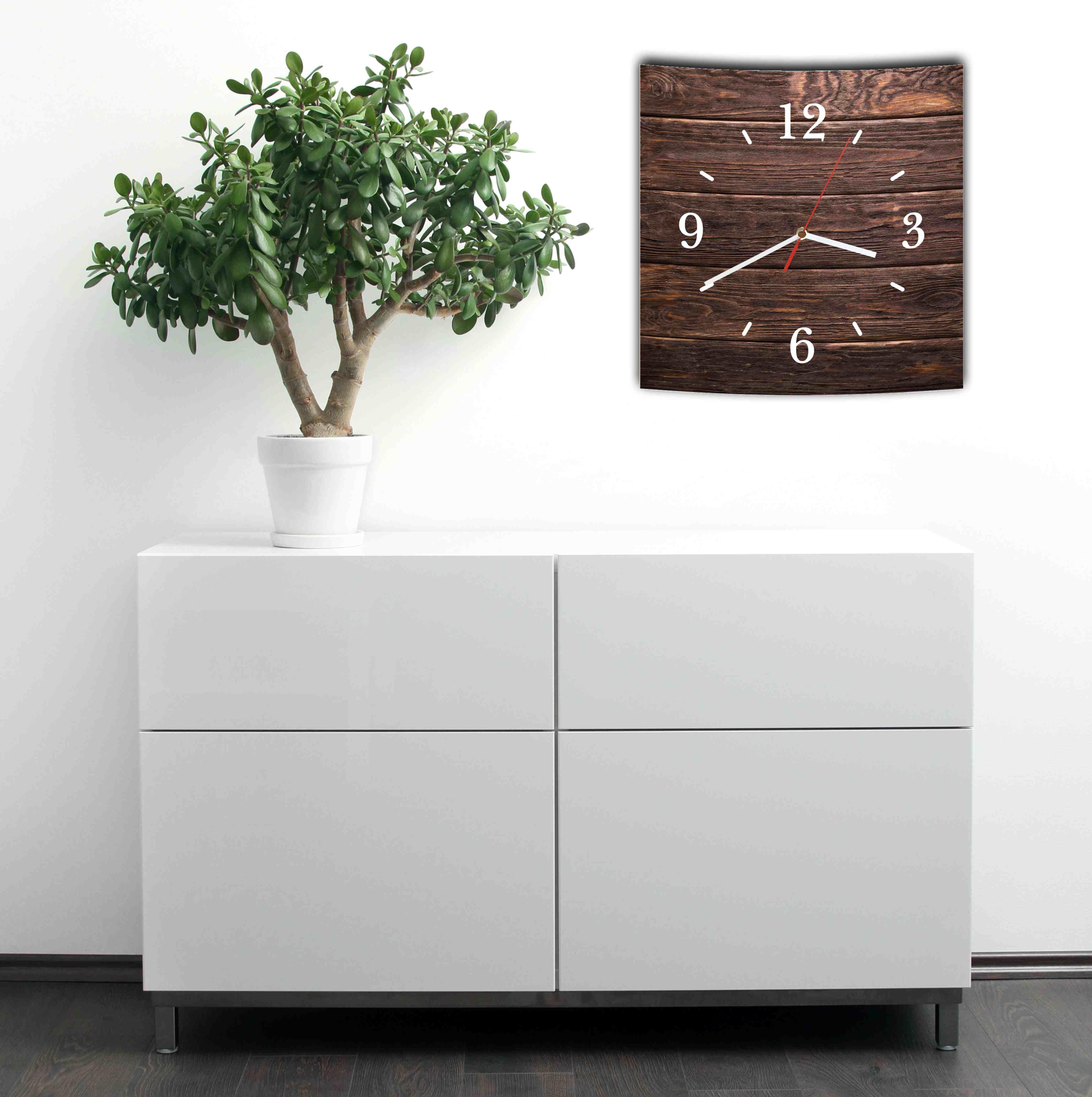 lautlose designer wanduhr mit spruch holz bretter optik. Black Bedroom Furniture Sets. Home Design Ideas