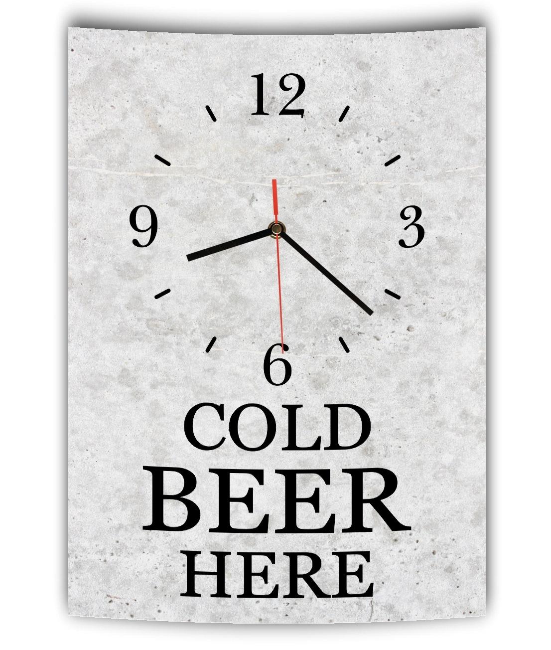 lautlose designer wanduhr mit spruch cold beer here grau betonoptik