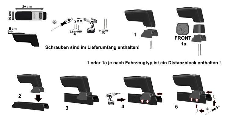 Echtleder Mittelarmlehne Leder für Dacia Dokker NICHT Express 12-2015 Armlehne