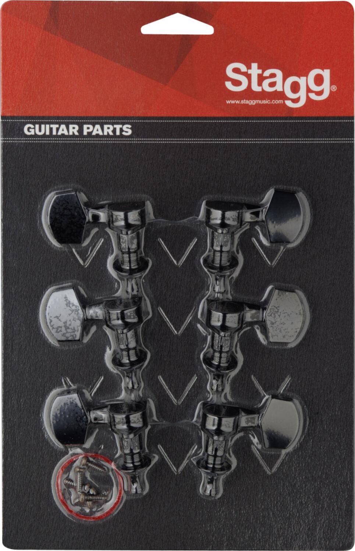 für Akustikgitarre Stagg SP-MHWS-BKBB Druckguss-Mechaniken 2 x 3 Schwarz