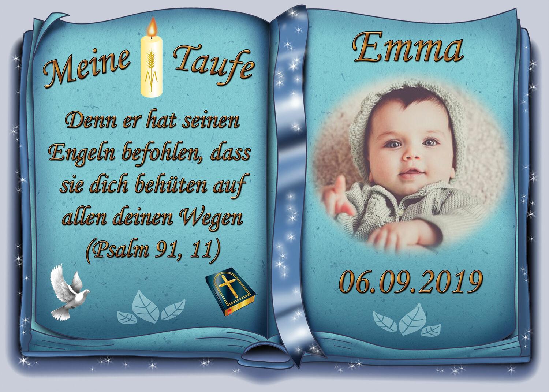Taufe Tortenaufleger Kommunion2 blau mit Wunschtext und Foto 20 cm Ø essbar Saisonales & Feste