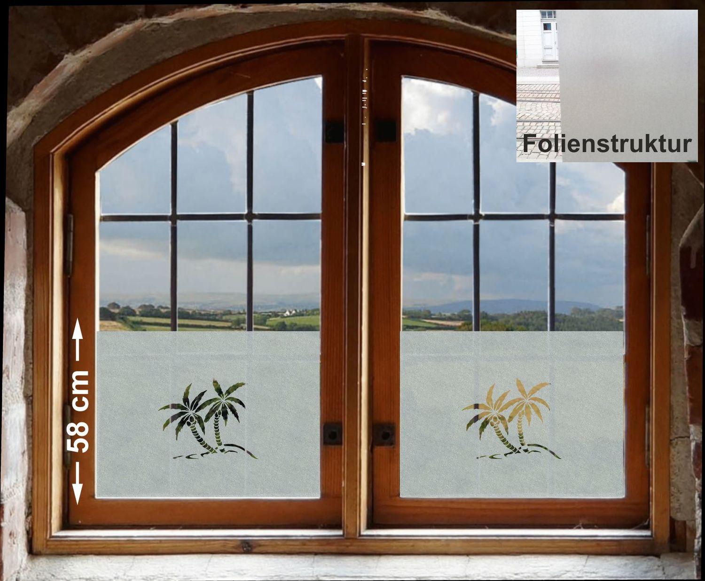 Sichtschutzfolie Fenster Palme Insel Blickdichte Milchglasfolie