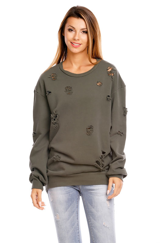 Oversized Lochstrick Pullover Damen Ärmellänge langarm