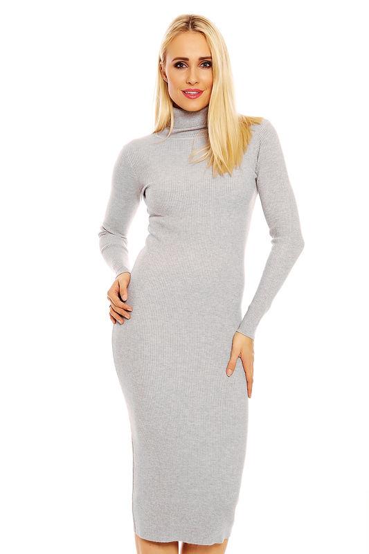 Damen Kleid Rollkragen Pullover Knielang Strickkleid ...