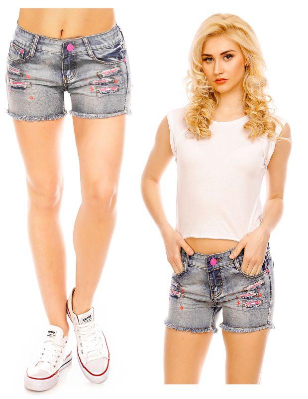 Damen Jeans Hose Skinny Shorts Denim Löcher Destroyed Ripped Pants BS 302 Blau