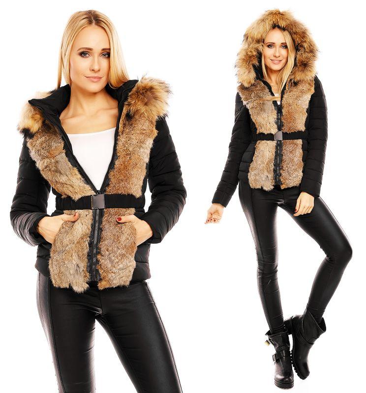 Damen Jacke ECHT FELL PELZ Stylish Parka Mantel Winter D3460 Schwarz Natural L | eBay