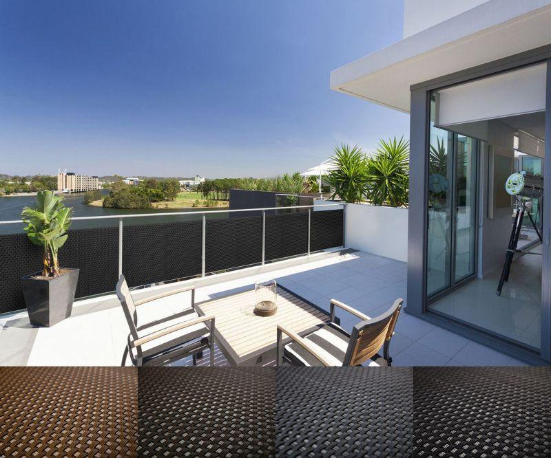rattan balkon und terrassen sichtschutz balkonverkleidung 90 cm 100 cm meterware ebay. Black Bedroom Furniture Sets. Home Design Ideas