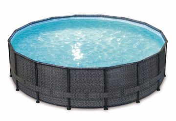 Fabulous XXL Frame Pool Set in Rattan + Mosaik Optik Stahlrahmen Rund FR61
