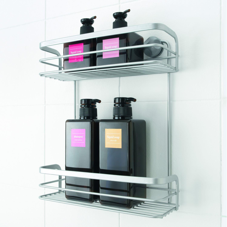 wandregal ohne bohren badregal 26x10x30 duschablage haken duschregal bad regal ebay. Black Bedroom Furniture Sets. Home Design Ideas