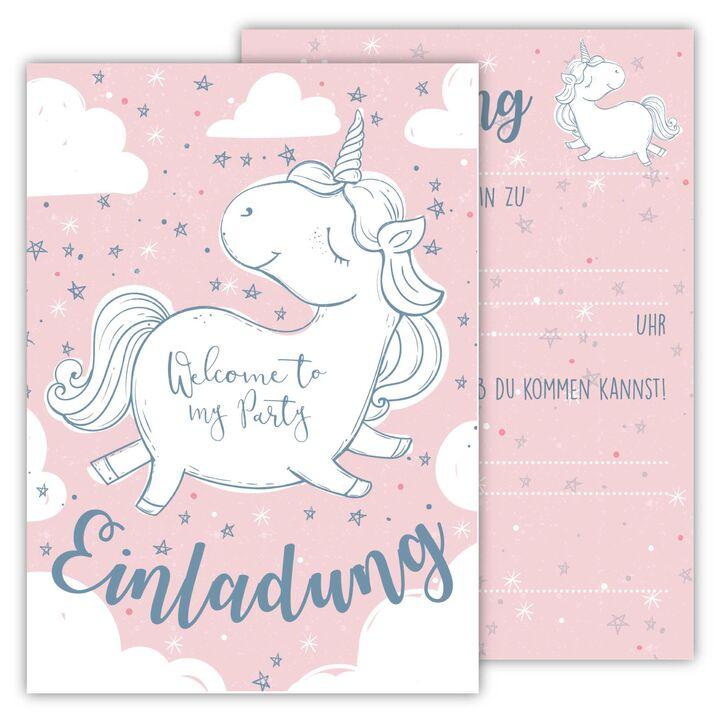 6 einladungskarten einhorn kindergeburtstag einladung