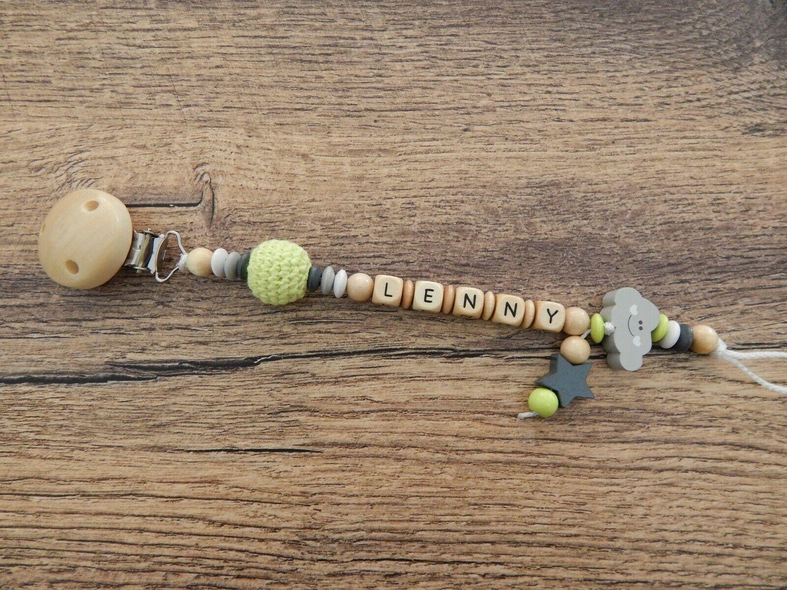 Schnullerkette mit Namen Wolke Stern Geschenk zur Geburt Taufe Baby Junge Holz