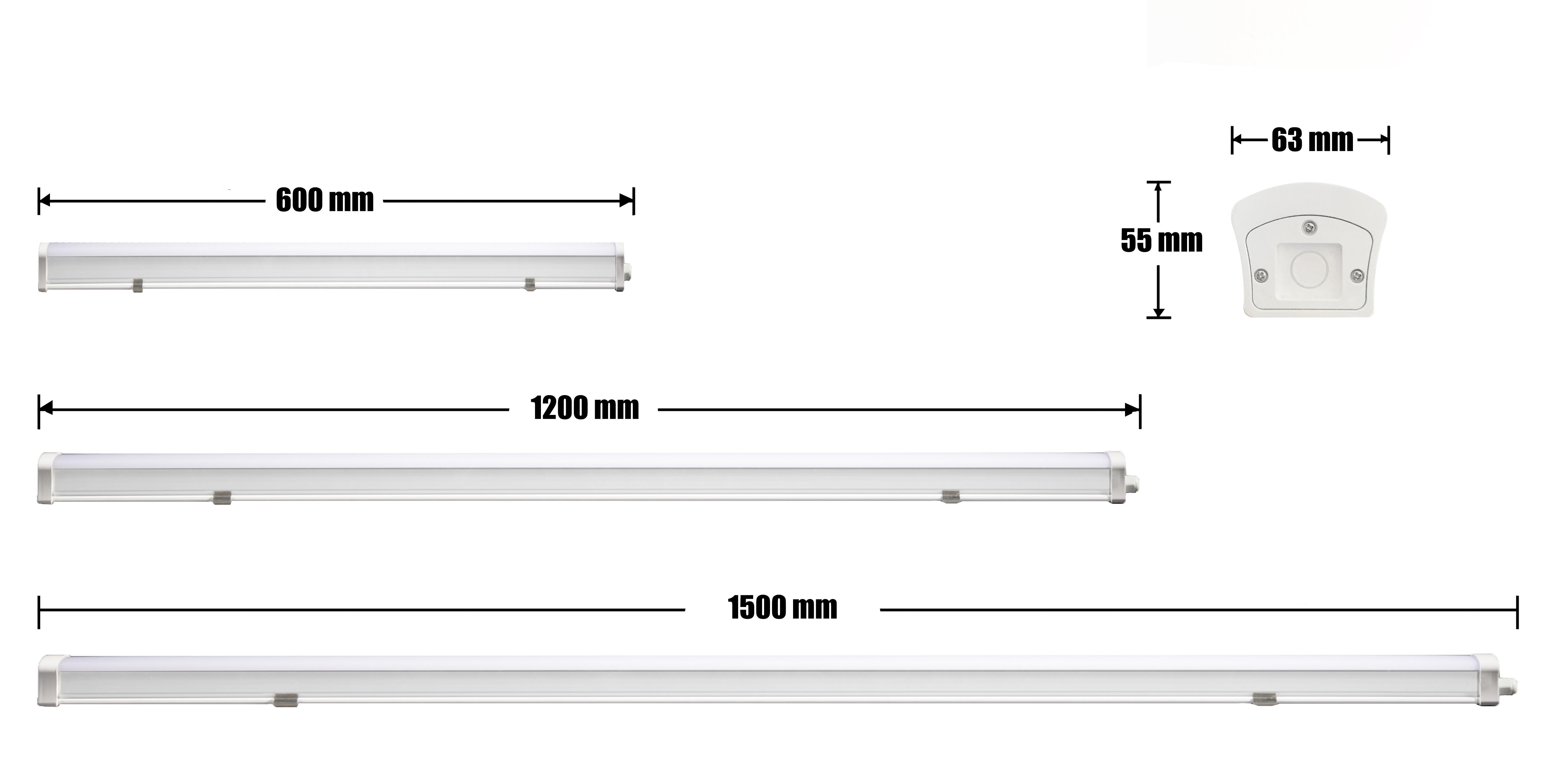 150 cm FR Lampe Keller Garage außen Feuchtraumleuchte LED IP65 ~ 60 120