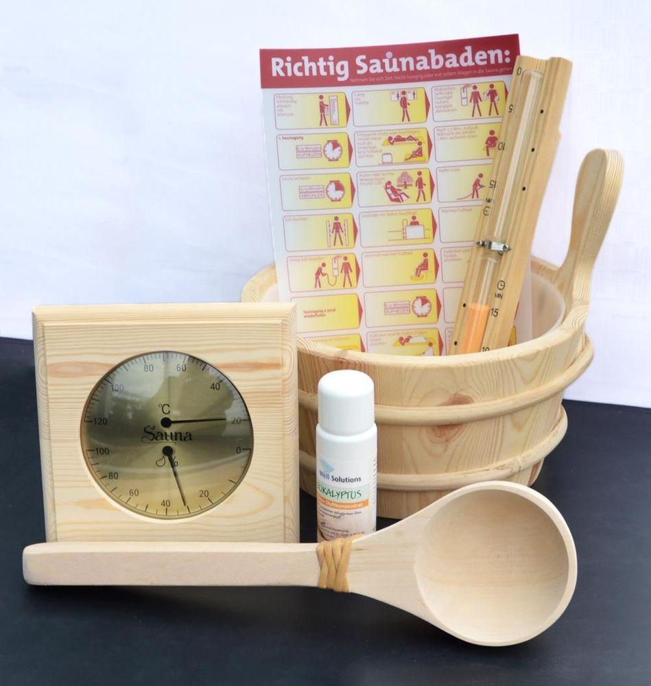 sauna zubeh r set k bel thermometer aufguss sanduhr 7tl ebay. Black Bedroom Furniture Sets. Home Design Ideas