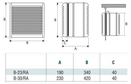 CATA B 23 Fenster Wand Ventilator Lüfter IPX4 Reversibel 1350 U//Min Jalousie