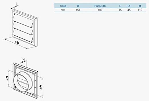 vents mv 100 vj vierkant jalousieklappe abluftgitter mit beweglichen lamellen ebay. Black Bedroom Furniture Sets. Home Design Ideas