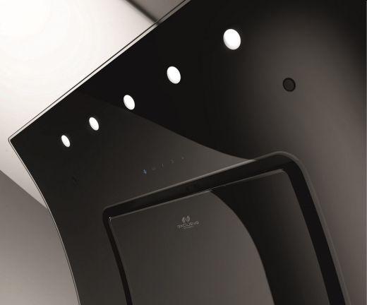 Schräge dunstabzugshaube opera plasma black schwarz glas mit