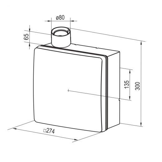 VNV 1B 80 KV VENTS Radialventilator Küche Bad Unterputz 102 m³//h 80 mm