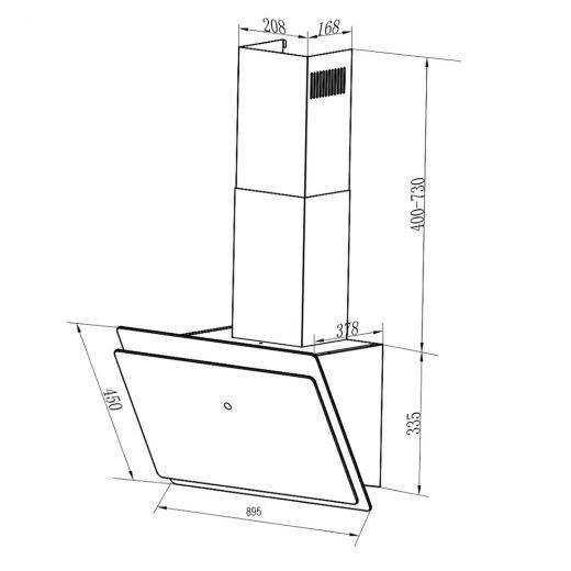 A+ Diagonal Abzugshaube VLANO MIRA 60 cm Schwarz Wandhaube kopffrei LED EEK