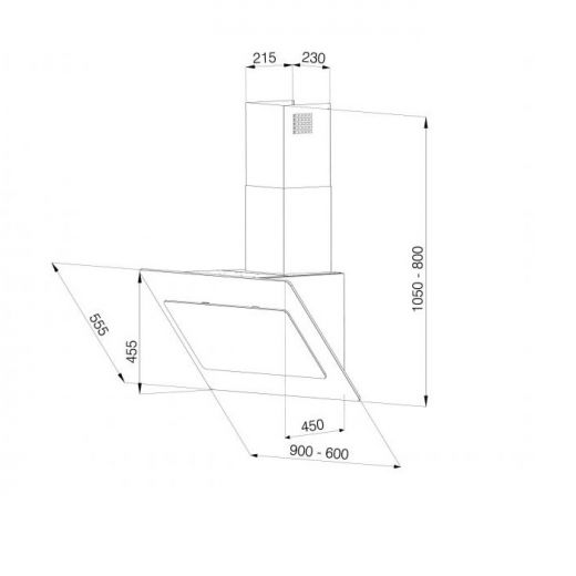 hochwertige kopffreie dunstabzugshaube galvamet blade 90 cm led 745 m h eek a ebay. Black Bedroom Furniture Sets. Home Design Ideas