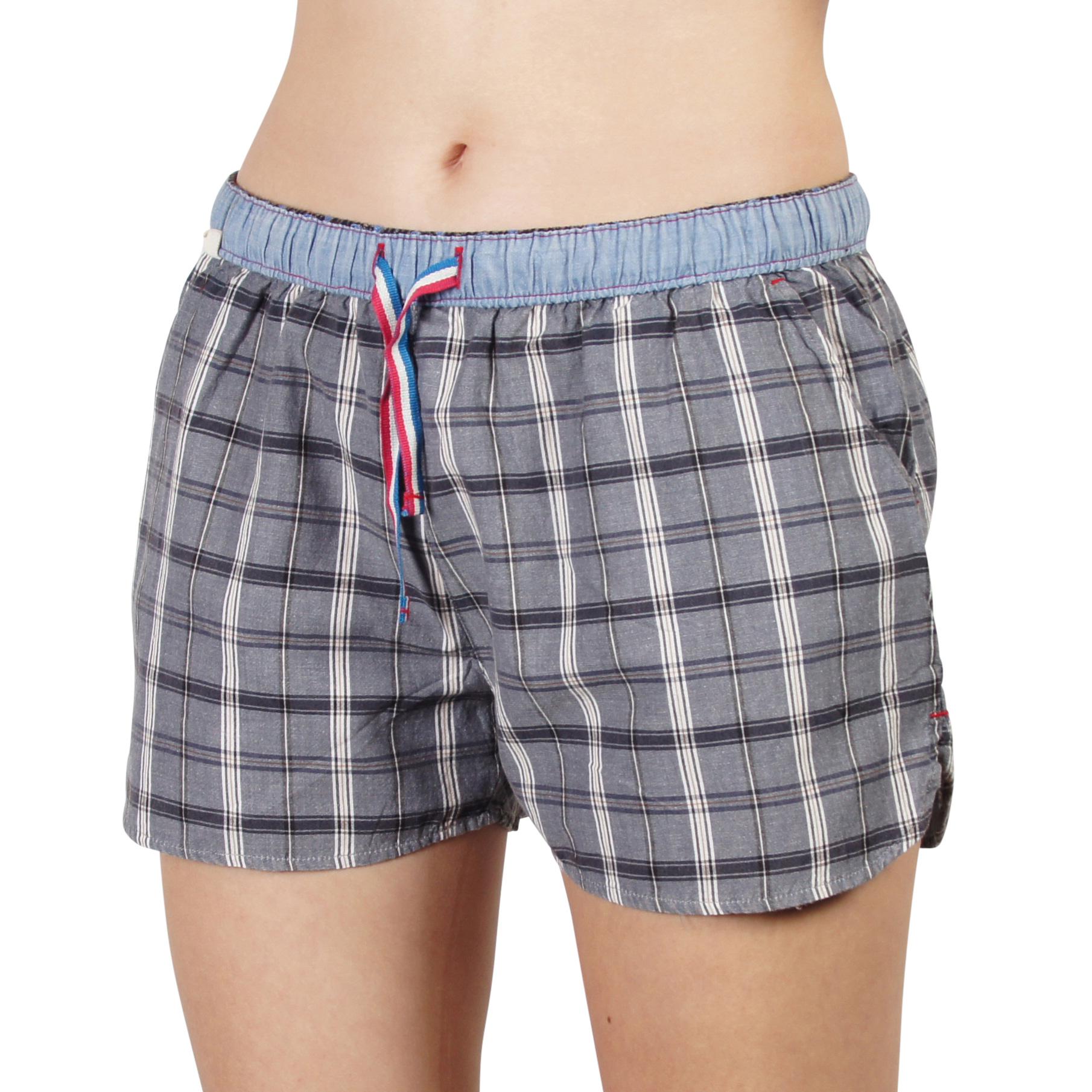 Details zu Luca David Olden Glory Damen Pyjama Shorts mit Karo Muster
