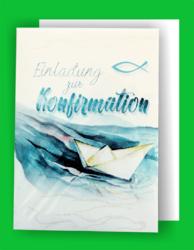 Umschlag Konfirmation Fisch zur Konfirmationsfeier 5x Einladungskarten