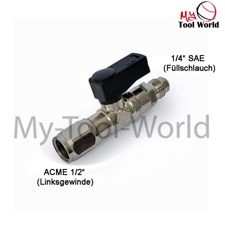 Absperrventil Entnahmeventil 1//2 ACME F x 1//4 SAE M für R32 Rechtsgewinde