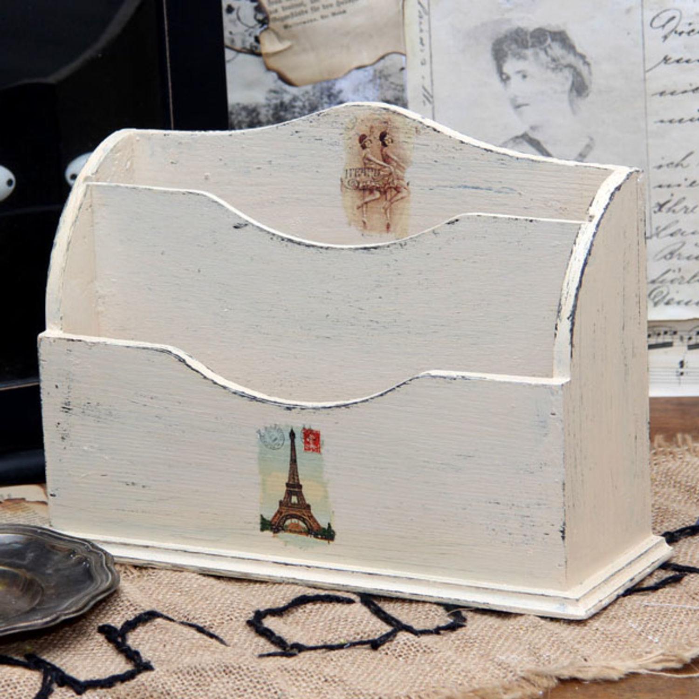 Vintage Briefablage Holzablage Landhaus Shabby Schreibtischablage Box Handarbeit