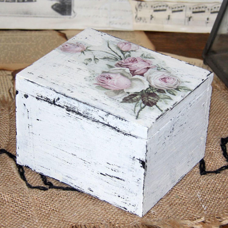 Vintage Holzschale Kiste Holzschatulle Landhaus Dekoration Aufbewaren Handarbeit