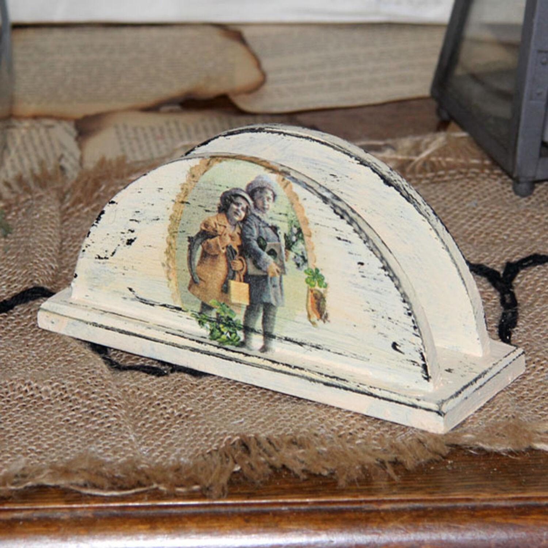 Vintage Serviettenhalter 15,5x5,5x7 cm Landhaus Shabby Holz Serviette Handarbeit