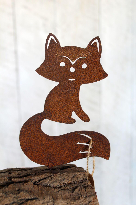 Edel Rost Fuchs Gartenfiguren Tierfiguren Waldtiere  Gartendeko Rost skulptur