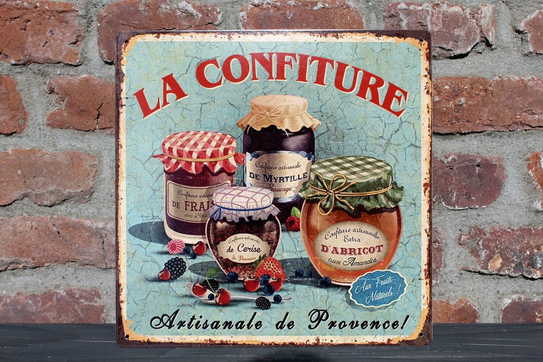 Nostalgie Blechschild La Confiture Küchendeko Marmelade Marmeladengläser