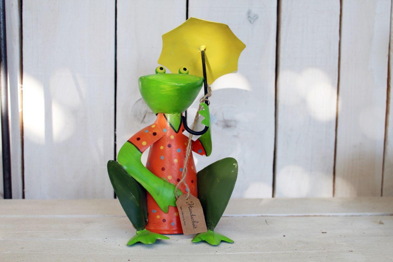 Zaunhocker Frosch mit Schirm NEU Gartenfigur Gartendeko maritim Metallfigur
