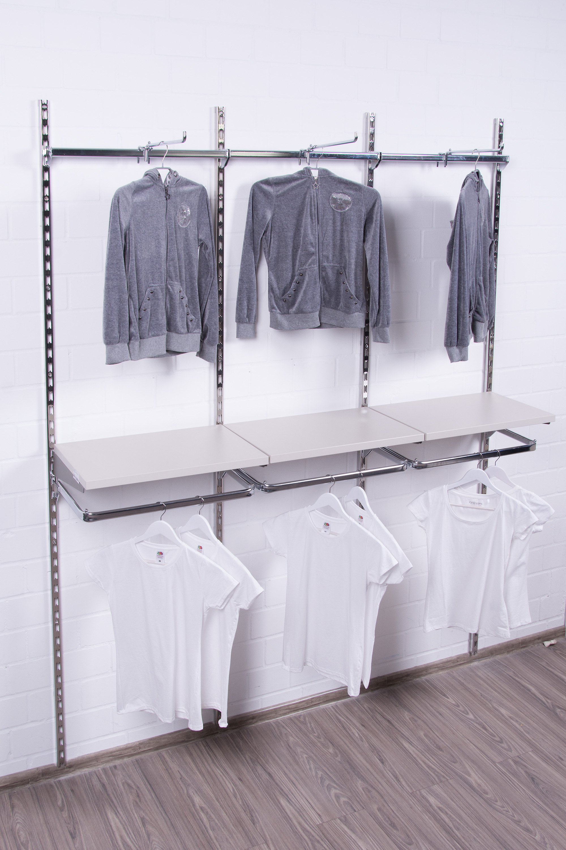 Rückwandsystem Regalsystem Wandregal Konfektionsrahmen begehbarer Kleiderschrank