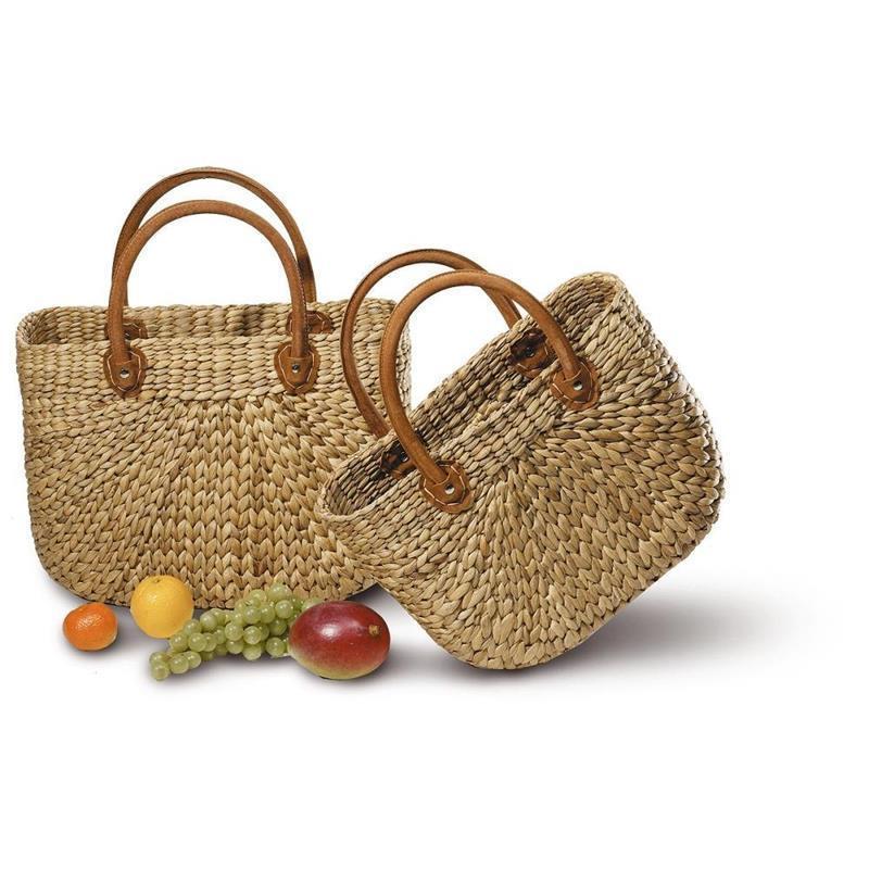 Korb-Taschen-Tasche-Einkaufskorb-Korbtasche-Einkaufstasche-Lederhenkel-Leder
