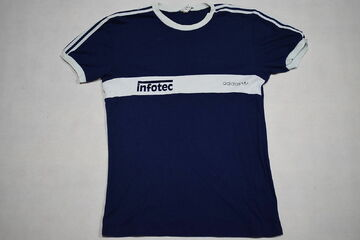 Details zu Adidas T Shirt TShirt Vintage 80s 80er Slim Tight Eng West Germany Infotec Gr XL