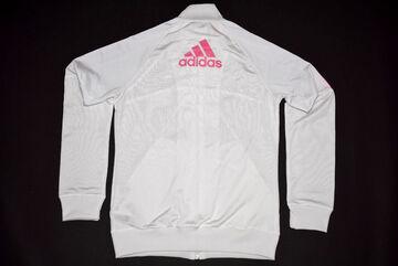 Details zu Adidas Trainings Jacke Sport Jacket Track Top Casual Weiß Rosa Pink Kids 164 Y L