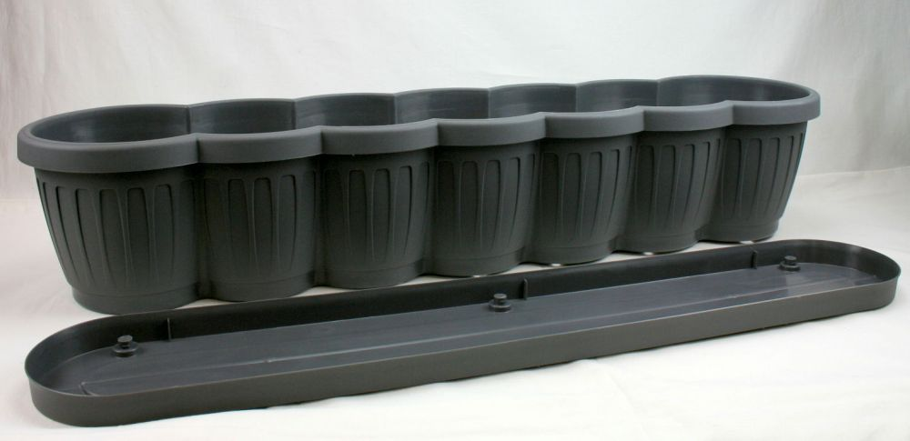 blumenkasten m untersetzer 80 cm blumentopf balkontopf balkonkasten pflanzgef ebay. Black Bedroom Furniture Sets. Home Design Ideas