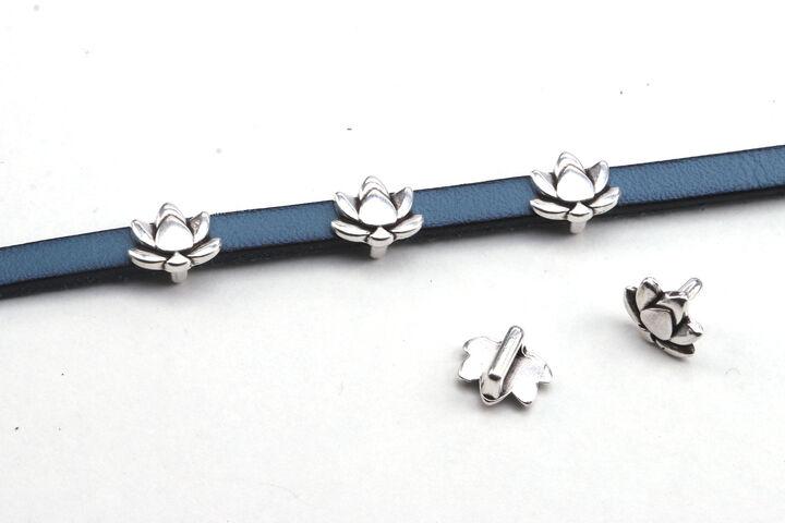 Schiebeperle mit Flatback Farbauswahl antik silber Leder /& Bänder ID 5x2mm