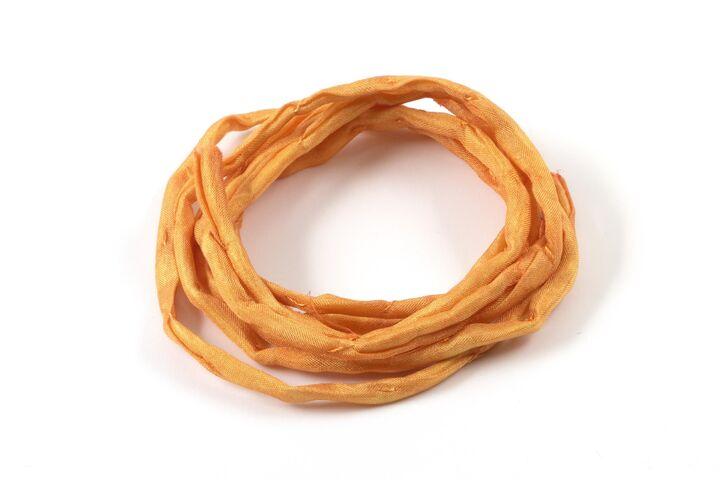 1m handgefärbtes Habotai-Seidenband Senfgelb 3mm Seidenschnur 100/% Seide