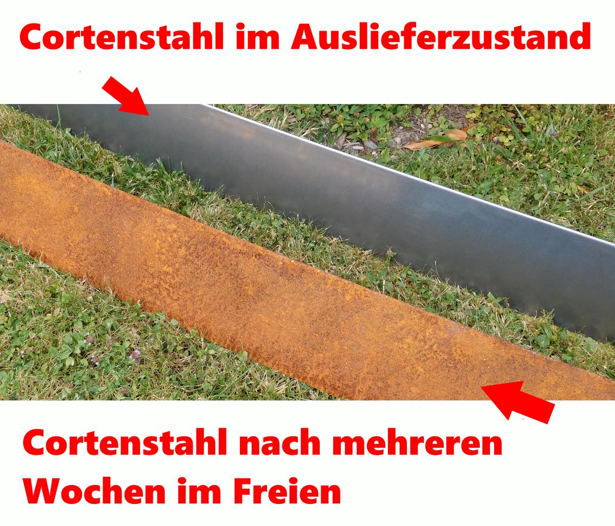 miniatuur 9 - IRKA Rasenkantenband Rasenkante Corten Stahl 15, 20 oder 25 cm hoch 1mm stark