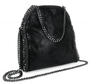 damen handtasche vintage metallic look kette schwarz klein kettentasche tasche ebay. Black Bedroom Furniture Sets. Home Design Ideas