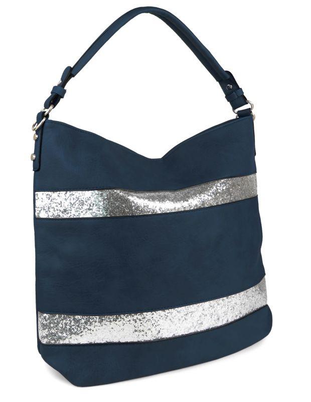 e78cc3bd5a606 Damen Beutel-Tasche Glitzer Streifen Groß Handtasche Shopper Umhängetasche  XXL