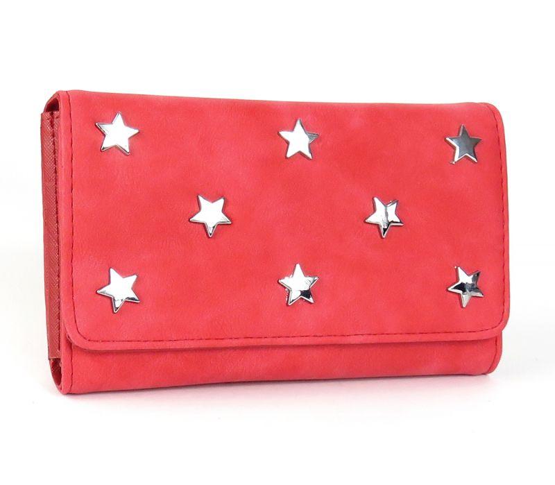 Sterne Geldbörse Damen Portemonnaie Geldbeutel Nieten einfarbig kompakt