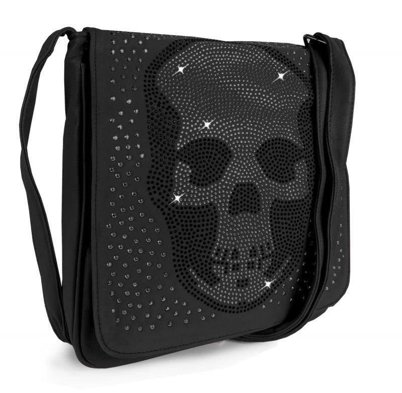 Details zu Schultertasche Totenkopf Umhängetasche Skull Nieten Strass Steine Tasche Bag