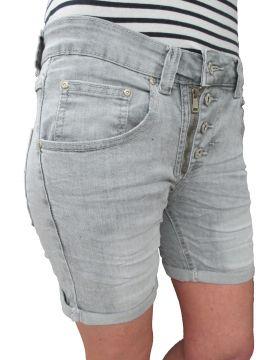 Place du Jour Damen Front Zip Knopfleiste Baggy Boyfriend Stretch Shorts Krempel