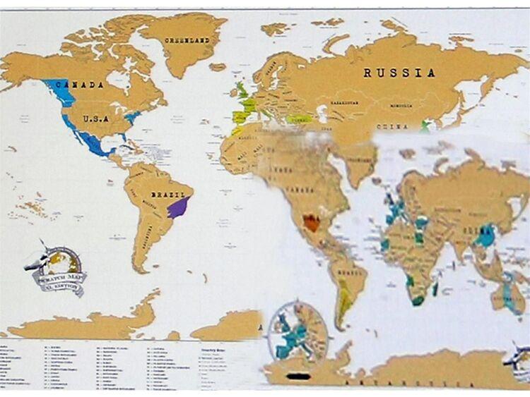 Details zu Luckies of London Weltkarte zum Rubbeln XL, 119 x 84cm World Map  Poster Karte SH