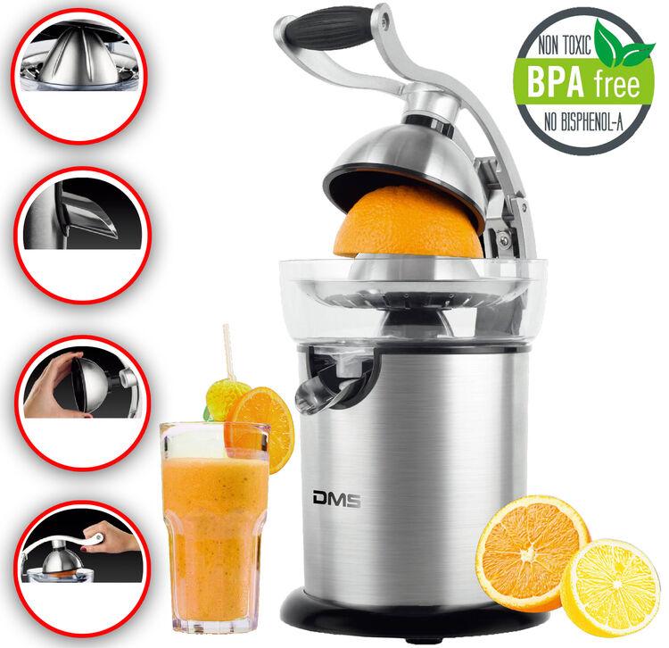 Zitronenpresse elektrisch 2 Presskegel 40W Edelstahlgehäuse Orangenpresse